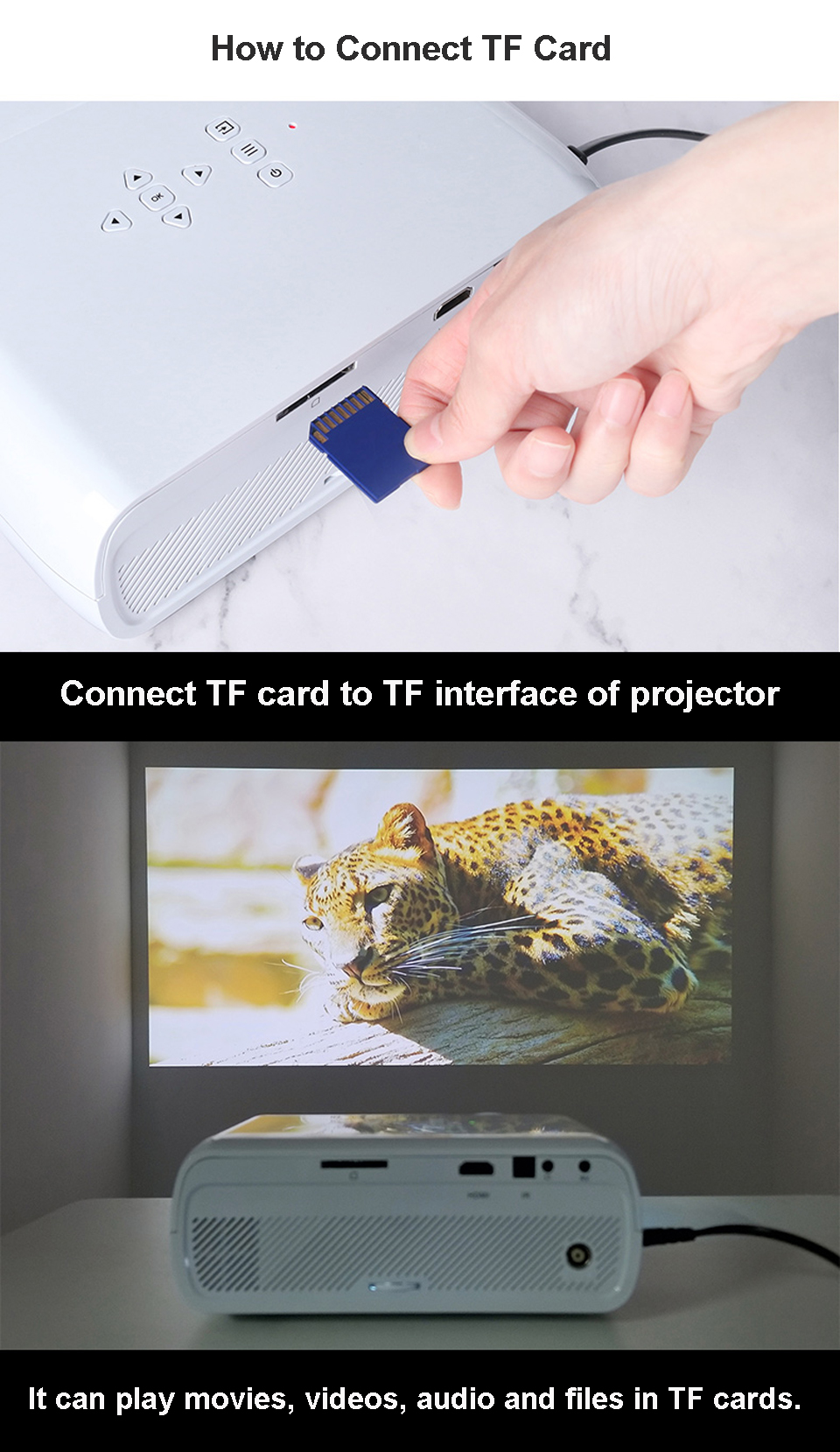 テレビプロジェクターサポートフル 3D 1080p 6 28