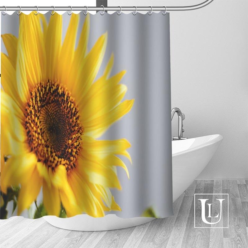 Hot Custom Sunflowers Shower Curtains Polyester Bathroom With Hook Bath Curtain Decor