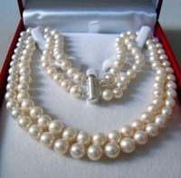 FREE SHIPPING Free Shopping 2 Rows 8 9MM WHITE AKOYA SALTWATER PEARL NECKLACE 17 18