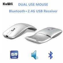 KuWFi kablosuz/Bluetooth şarj edilebilir fare 2 in 1 sessiz taşınabilir fare dönebilen Mini 1600 DPI optik fare forLaptop/PC/masaüstü