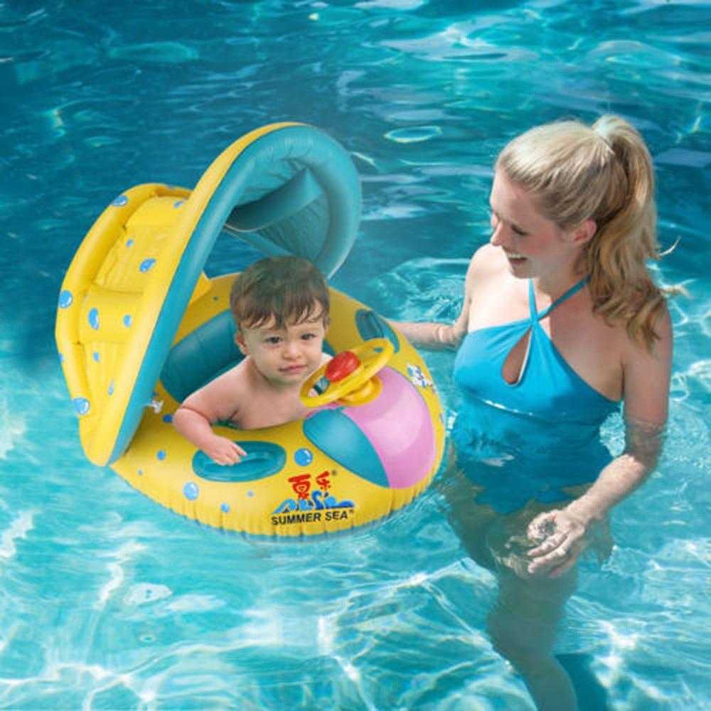 Newborn Baby Bath Toy Summer Beach Swim Ring Inflatable Sunshade Swimming Pool Ring Float Boat Seat Infant Swim Bathing Toys