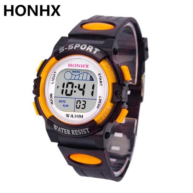 Honhx Impermeabile Mens Boy Digitale-Orologio Al Quarzo Led Alarm Data Di Sport