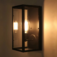 HAWBOIRRY American Simple Retro Transparent Glass Shade Indoor Lighting Home Kitchen Living Room Office Bar KTV Cafe Wall Light
