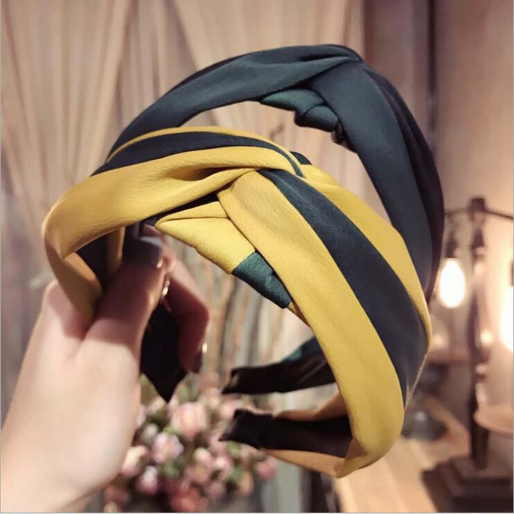New Classic Style Hair Band Hair Accessories Wholesale Girls Women Hairbands Wide Side Striped Cloth   Headwear   Hair Hoop