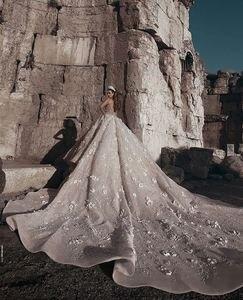 Image 2 - Amanda Design Dubai Royal Long Sleeve Lace Applique Crystal Flowers Wedding Dress Luxury