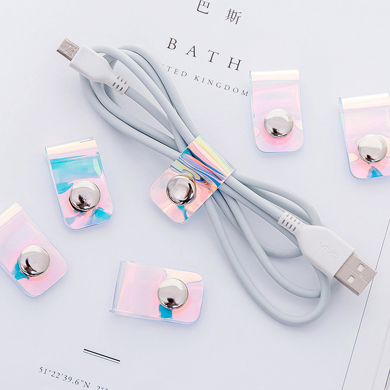 Laser Transparent Desktop Phone Cable Winder Earphone Clip Charger Organizer Management Wire Cord Fixer Silicone Holder