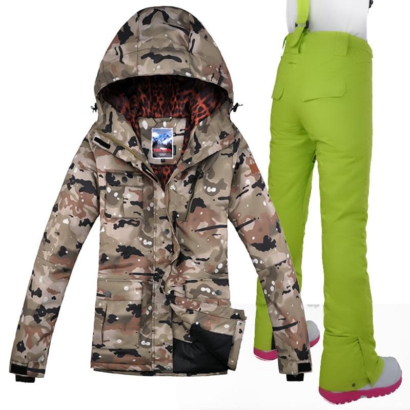 2019 Camouflage ski veste + pantalon Gsou neige femmes en plein air Sport porter équitation Snowboard coupe-vent imperméable Super chaud ensemble costume