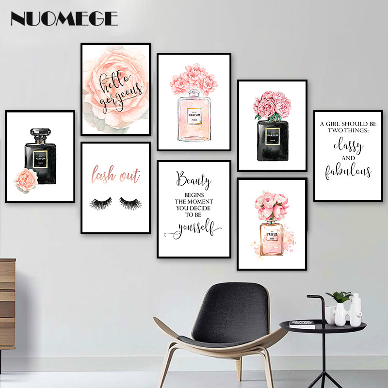 Scandinavian Style Fashion Wall Art Perfume Cosmetics Modern Wall Paintings Woman Bedroom Decoration Picture Make Up Poster