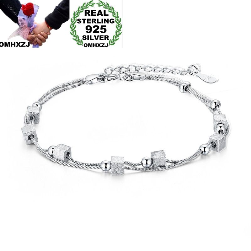 OMHXZJ Wholesale Personality Fashion OL Woman Girl Party Gift Silver Square Round Beads 925 Sterling Silver Bracelet BR103OMHXZJ Wholesale Personality Fashion OL Woman Girl Party Gift Silver Square Round Beads 925 Sterling Silver Bracelet BR103