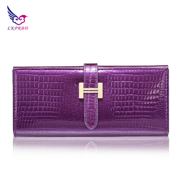 2018 LKPRBD Cowhide wallet fashion wallet design high quality leather purse female buckle fashion women litchi Wallet 4 colors in Wallets from Luggage Bags