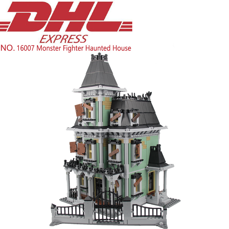 2141Pcs City Monster Fighter Haunted House Model Building Kits Figure Blocks Bricks Christmas Toys For Children Compatible 10228 0367 sluban 678pcs city series international airport model building blocks enlighten figure toys for children compatible legoe