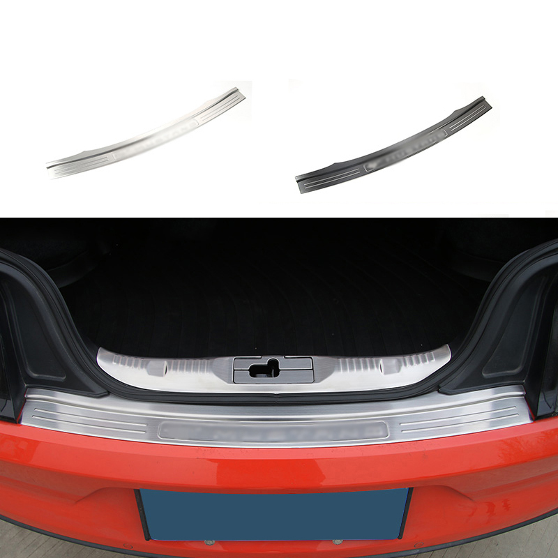HANGUP Stainless Steel Rear Trunk Guard Board Bumper Decoration Trim Stickers For Ford Mustang 2015 Up Car Styling decoration protective guard bar for car front and rear bumper white 4 pcs