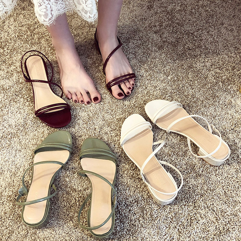2019 New Elegant Comfort Sandals Women Shoes Ankle Strap Heel Green Sandals Ladies Slippers Summer Shoes Woman sandalias mujer in Middle Heels from Shoes