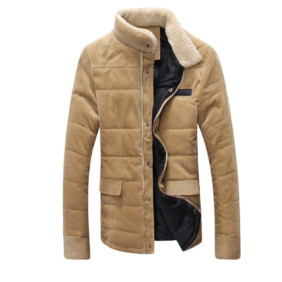Yeni Stil Erkekler Moda Kadife Kış Kalınlaşma Sıcak Rahat Palto Katı İnce pamuk-yastıklı Ceketler Aşağı Giyim Tops