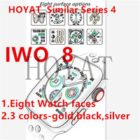 2019 IWO 8 Smart Watch 44mm 1:1 Series 4 Smart Wristband Matte alloy case 8 clocks Intelligent watch For iphone