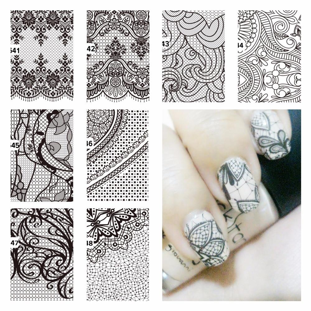 YZWLE 1 Sheet Beauty Black Lace Flower Design Nail
