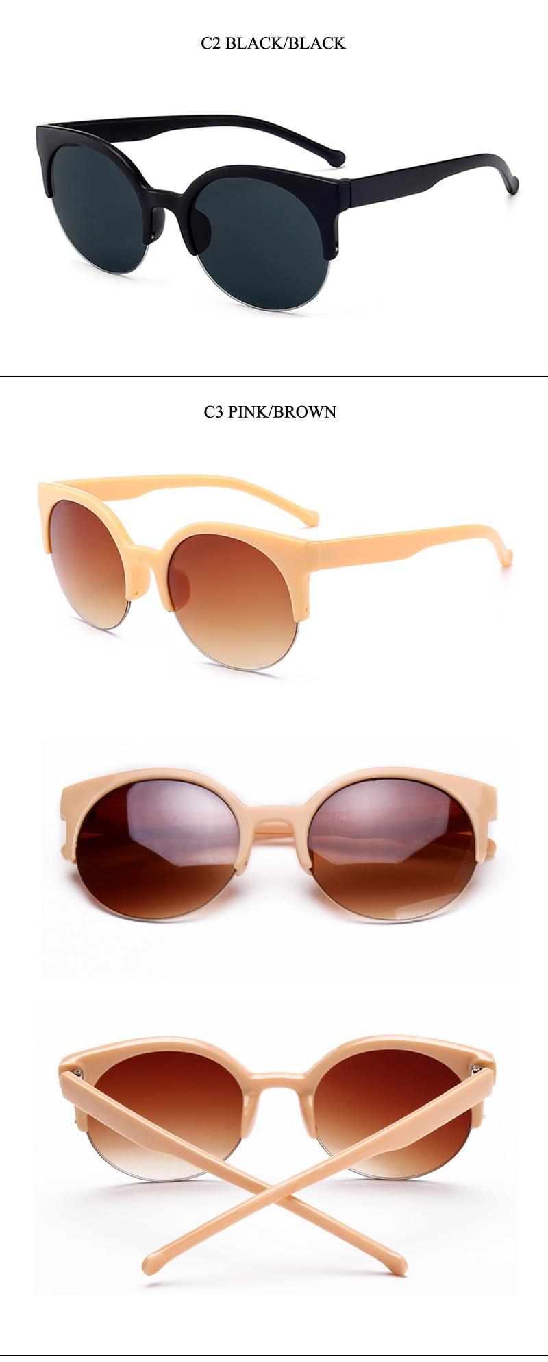 6 women semi-rimless round sunglasses