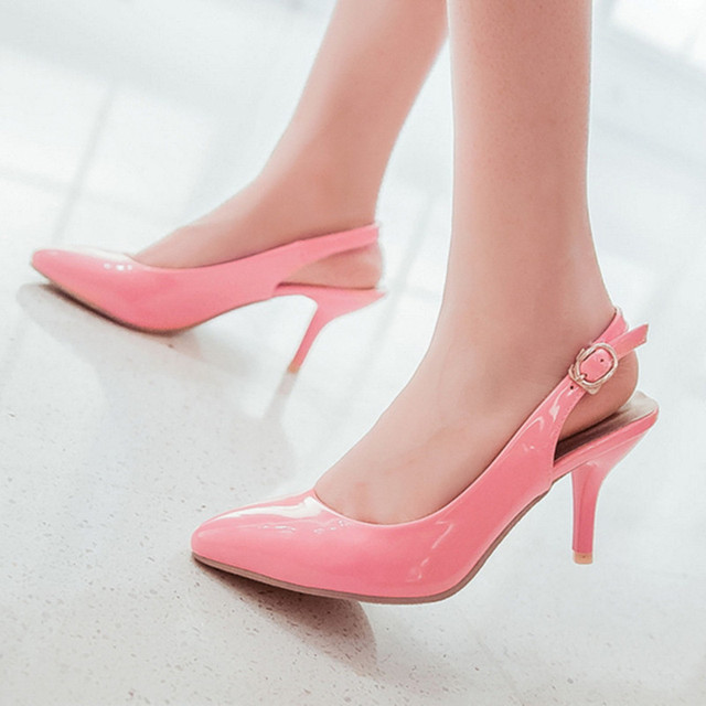 2017 new Black/red/beige/pink slingbacks pointed toe Women thin heels patent Pumps summer woman casual shoes womens party shoes