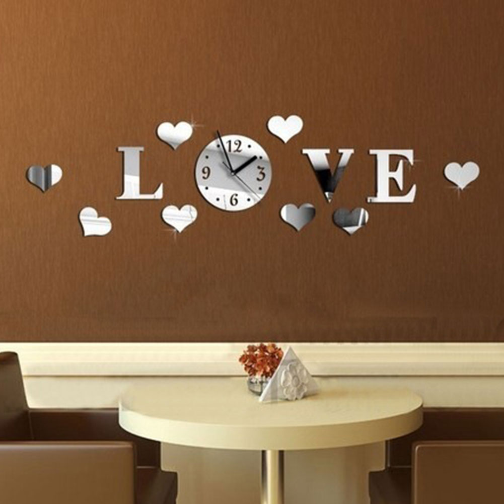 Art Decals Gift Bedroom 3D Home Decor Removable Acrylic Mirror Sticker Love Shape Wall Clock Battery Powered Living Room
