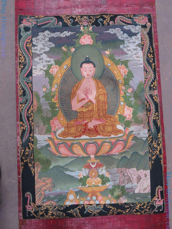 China Old Silk Cloth Handmade Embroidery Fine Buddhism Shakyamuni Buddha Tangka