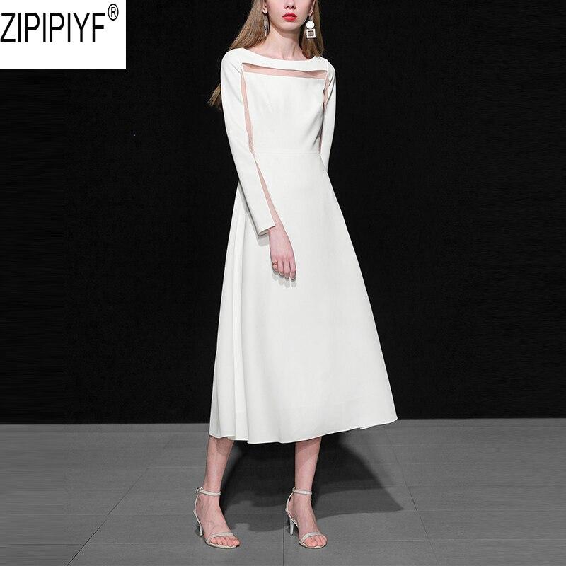 18 Fashion Autumn Ladies Solid Mid-calf A-Line Dress O-Neck Long Sleeve Persperctive Dress Women High Waist A-Line Dress C1818 2
