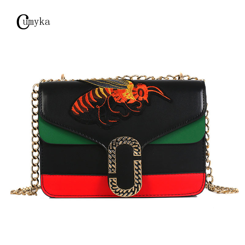 CUMYKA New Embroidery Bee Small Women Bag Vintage Animal PU Double-layer Ladies Handbag Chain Flap Shoulder Crossbody Bags Mini