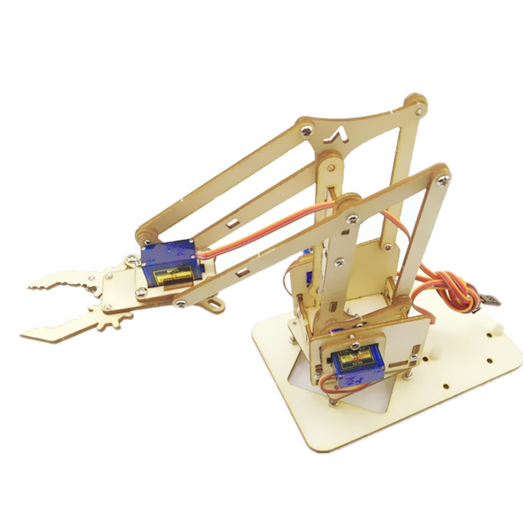 Robotic Arm Plank 4 DOF Robot Robotic Arm Wooden Splicing Rudder SG90 Steering Gear 0.1-X