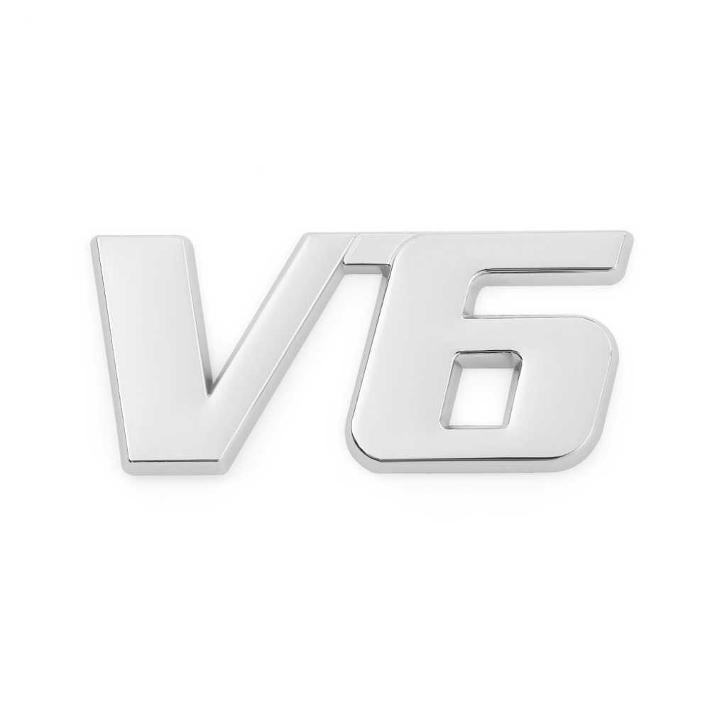1 piezas 3D de Metal 4WD V6 V8 3D del cromo del coche vehículo portón trasero de la tapa del maletero emblema insignia decoración etiqueta estilo de coche