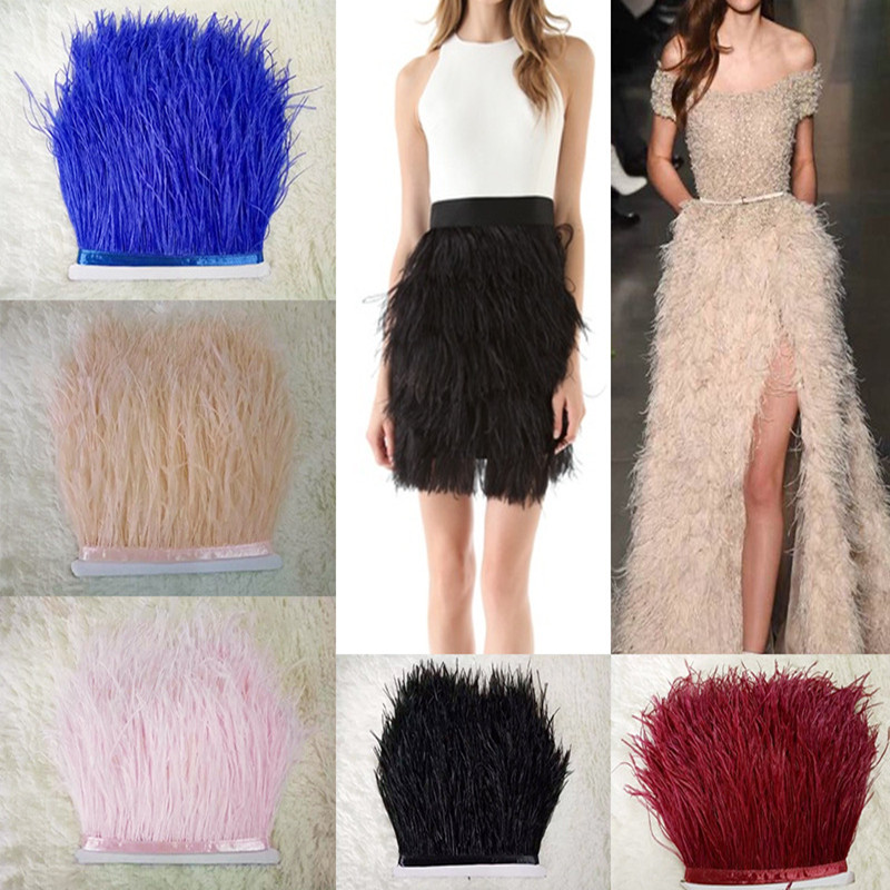 1 Meter/lot Multi Color Long Ostrich Feather Plumes Fringe trim13-15cm Feather Boa Stripe for Party Clothing Accessories GPD8194 ...