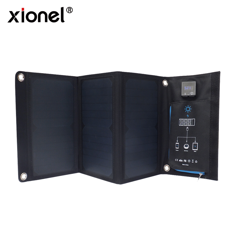 Xionel 21W Solar Charger with 2 Port USB Charger Build with High efficiency Sunpower Solar Panel