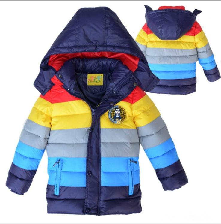 New 2017 Winter Baby Boys Coats Outwear Children Winter Warm Striped Color Down Warm Jacket,Baby Boys Girls Fashion Warm Clothes