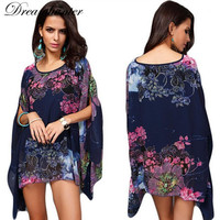 Large Size Women Summer Casual Floral Print Blouse Bird Bat Shirts O Neck Chiffon Blusas Bat