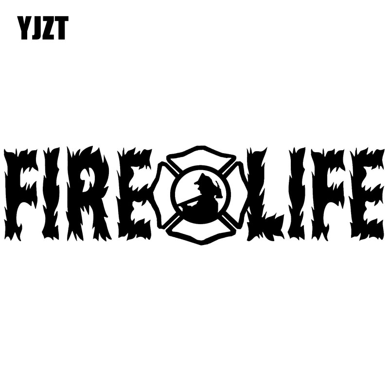 Yjzt 15.3x4cm Fire Life Flames Fireman Fire Fighter Vinyl Decal Car Window Sticker Black/silver S8-1339 Fashionable And Attractive Packages Exterior Accessories Automobiles & Motorcycles