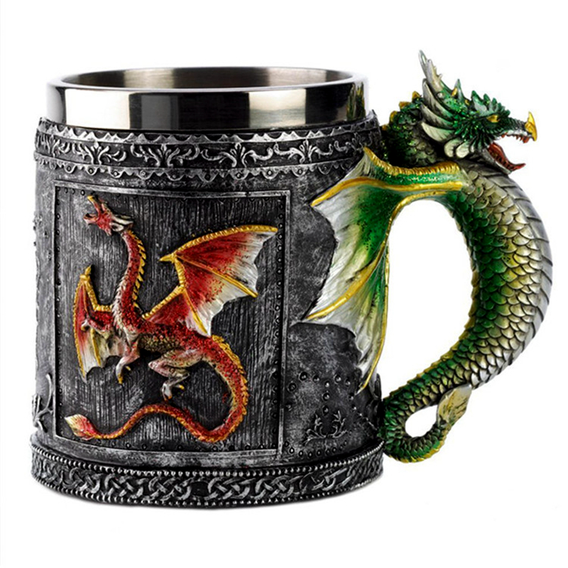 Double Wall Stainless Steel 3D Skull Mugs Fly Dragon Drinking Mug Cup Home Office Table Decor Geek Coffee Cup Christmas Gift