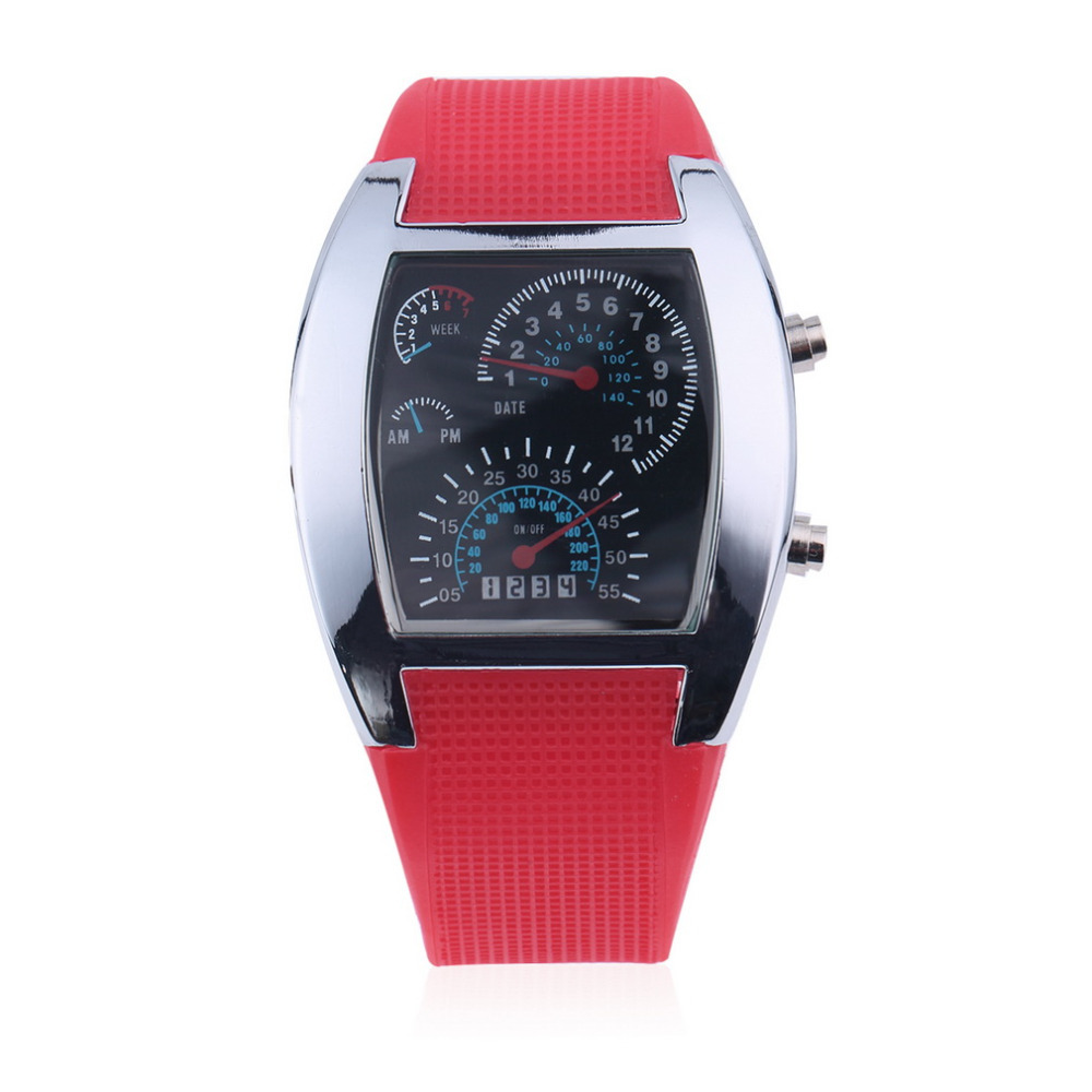 OUTAD Fashion Dial Flash LED Watch Gift Mens Lady Sports Car Meter Rubber Band Watches