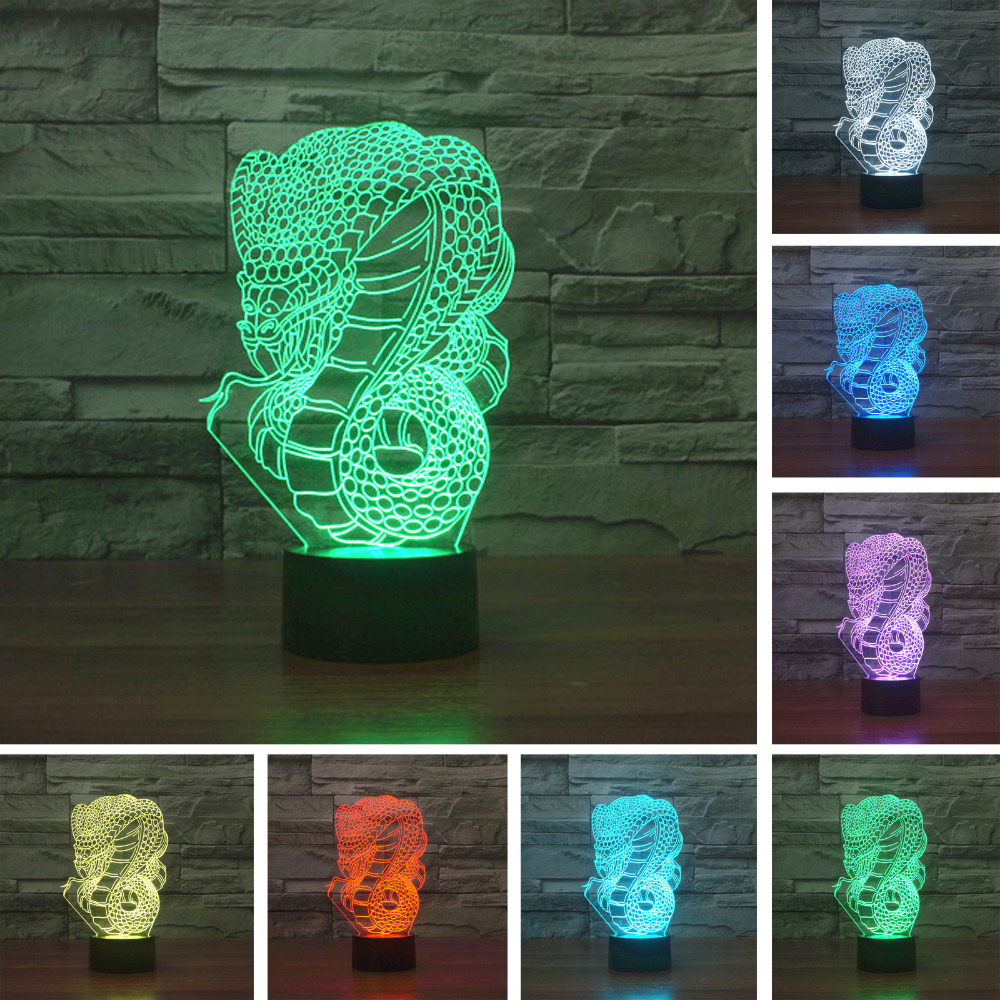 3D Optical Illusion Night Light Lamp with Snake Dragon Wildlife Animal Vision Colorful Gradient Lighting Bedroom Decor Child Gif