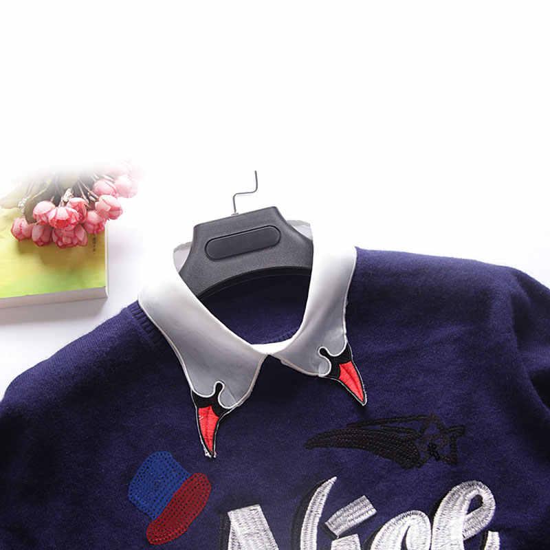 Рубашка поддельный съемный воротник мультфильм вышивка куртка с лацканами топы костюм декоративный воротники-обманки Женская одежда Аксессуары