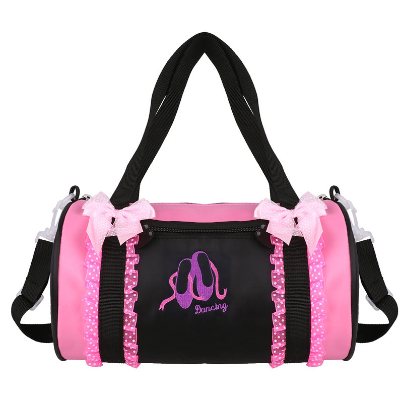 Girls Ballet Bags Adorable Ballet Dance Bag Pokla Dots Bowknot Ruffled Lace Embroidered Dancing Duffle Bag Hand Shoulder Bag