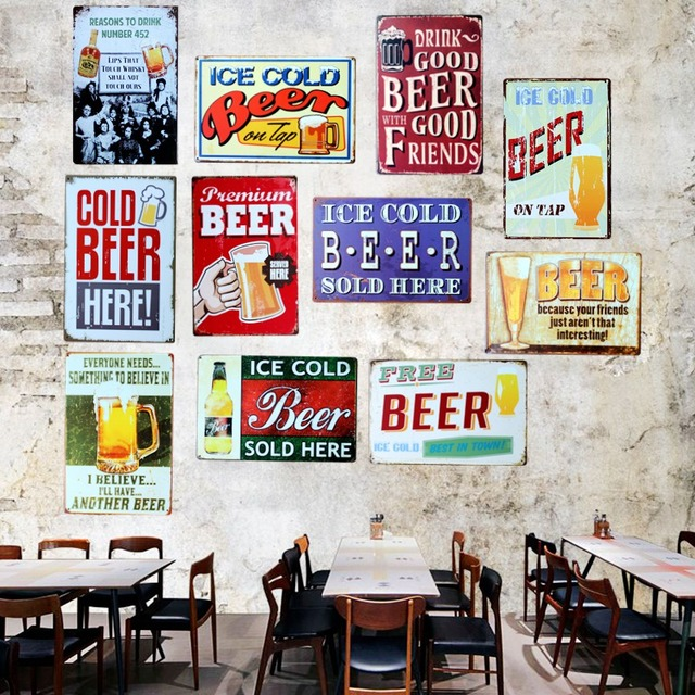Buena cerveza buenos amigos signos de metal vintage placa de pared ...