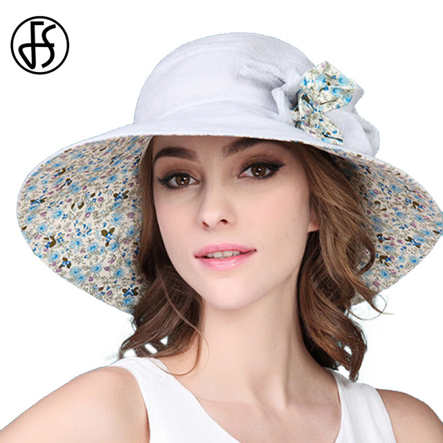 1eaa2371a57 FS Large Brim Foldable Floral Summer Beach Sun Hat For Women UV Protect  Sunhat Casual Fashion Floppy Flower Visors Hats