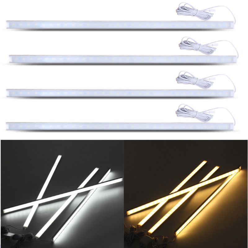 4Pcs 50CM LED Strip Light Kit For Under Kitchen Cabinet Counter Lighting LED Showcase Rigid Strip Light