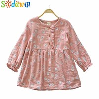 Sodawn 2017 Girls Clothes Autumn New Children Clothing Girls Dress Floral Princess Dress Cotton And Linen Fashion Kids Clothing