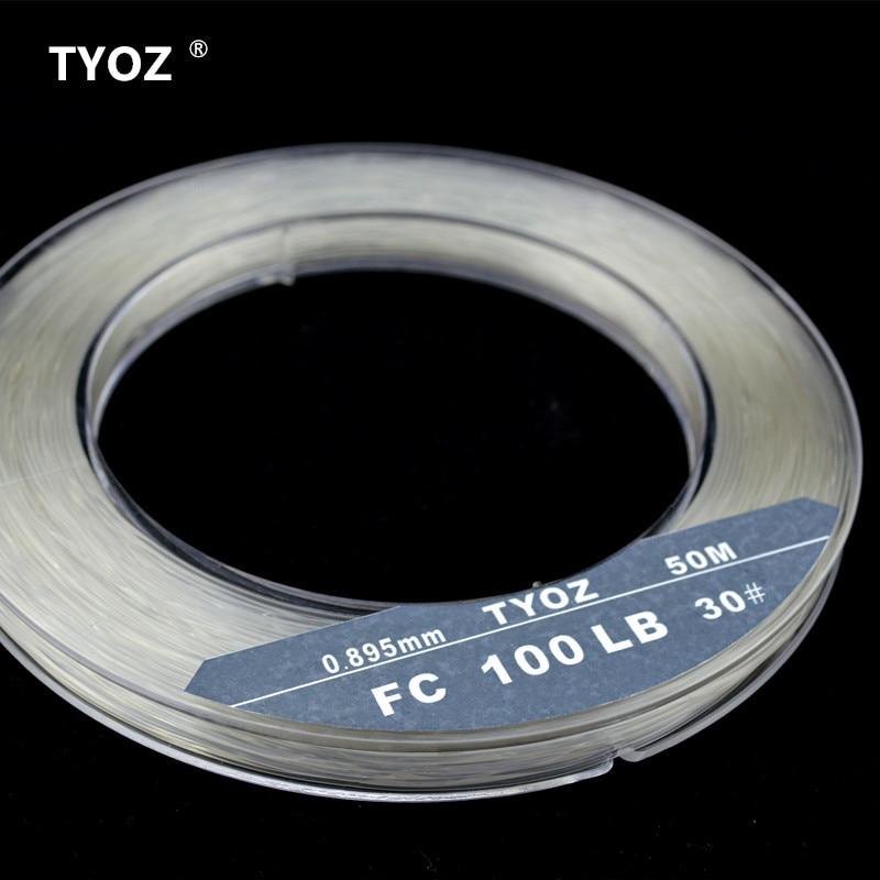 TYOZ Brand NO 30 100LB 100 fluorocarbon fishing line Carbon Fiber Leader Line Sea Fishing Line