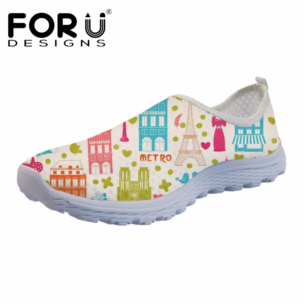 FORUDESIGNS Cartoon Eiffel Tower Puzzle Prints Women Flats Mesh Shoes Breathable Summer Sneakers for Female Casual Walking Shoes toursh 2018 summer women shoes light sneakers breathable mesh beach shoes female cheap casual outdoor lady walking flats shoes