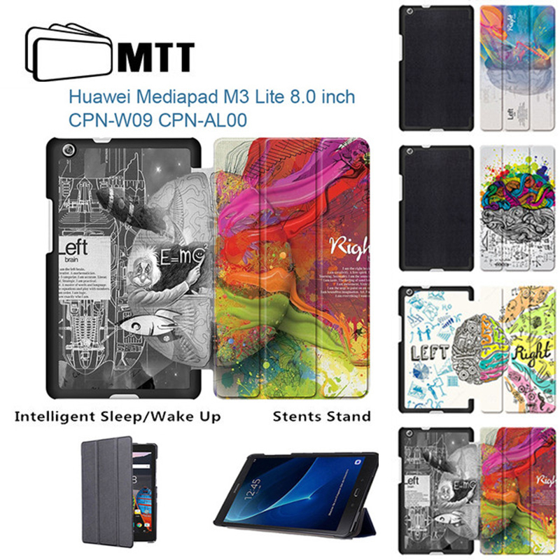 MTT Left Right Brain Print Leather Case Flip Cover For Huawei M3 Lite 8.0 Tablet CPN-W09/AL00 Auto sleep smart Protective Case leather case for huawei p9 left and right flip cover