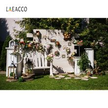 Laeacco Wedding Backgrounds Flower Wreath White Screen Ceremony Green Grass Outdoor Scenic Backdrops Photocall Photo Studio