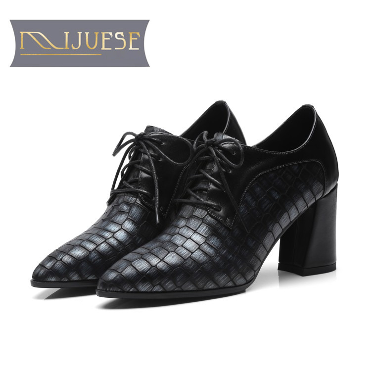 MLJUESE 2018 women pumps autumn spring cow leather crocodile black color lace up  high heels lady shoes party dress office shoes