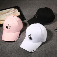 2017 Winter Unisex Solid Ring Safety Pin Curved Hats Baseball Cap Men Women Suede Snapback