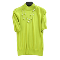 Women Cashmere Short Sleeve Sweaters Top Half Turtleneck Slim Pullover Knit Jumper Black 2018 Ladies Spring