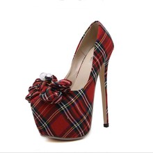 2017 British Style Vintage Women Pumps Lattice Plaids Bowknot Denim Canvas Cloth Stilettos Princess Party Cocktail Woman Shoes